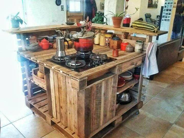 creative pallet kitchen island with stove and countertop