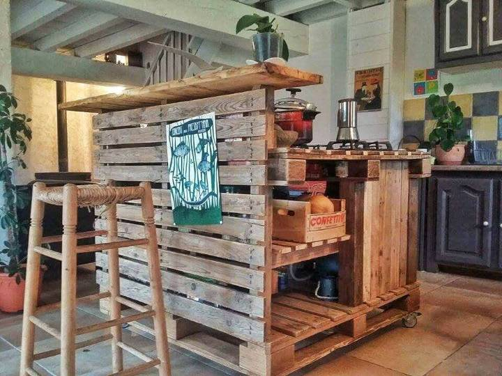 zero cost pallet kitchen island with countertop