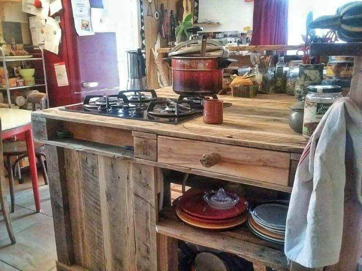 repurposed pallet wood kitchen island with stove