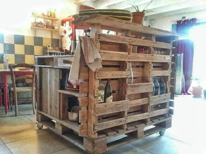 wooden pallet rustic kitchen island with stove