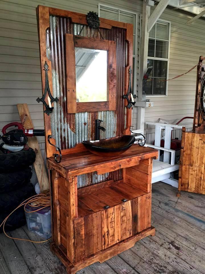 amazing hand-built pallet bathroom vanity