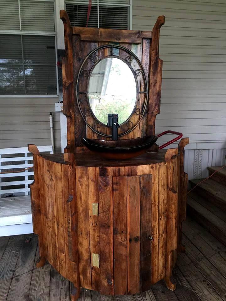 recycled pallet wood bathroom vanity