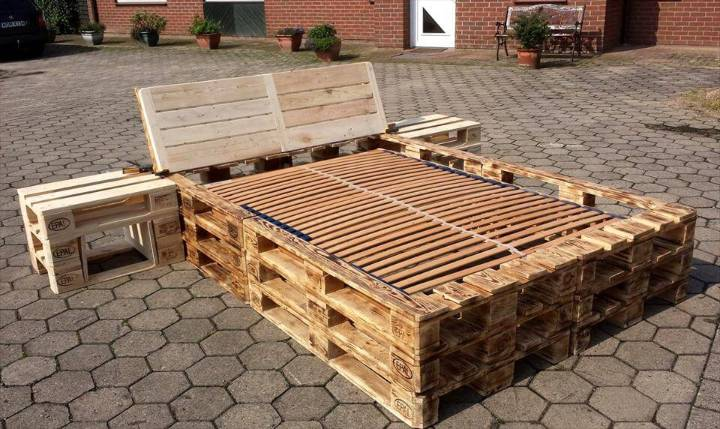 recycled pallet bed frame with nightstands