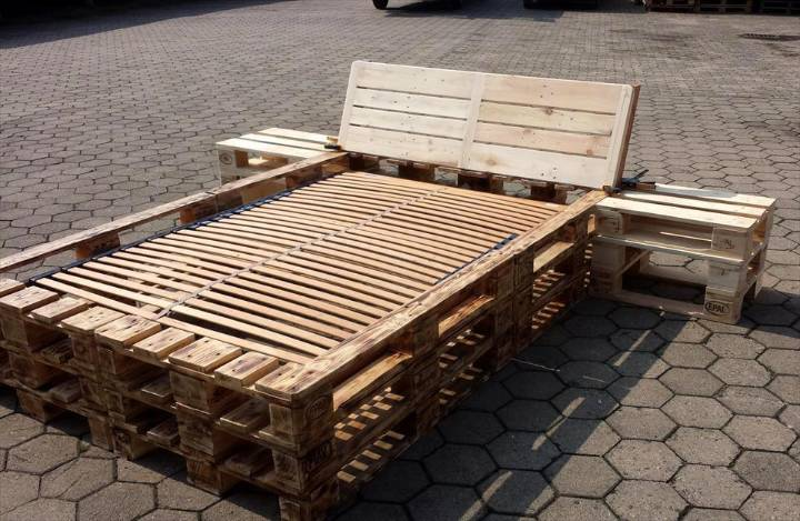 handmade wooden pallet bed frame with nightstands