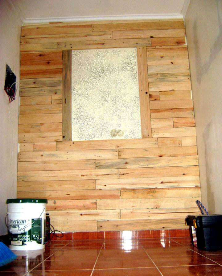 custom wooden pallet accent wall