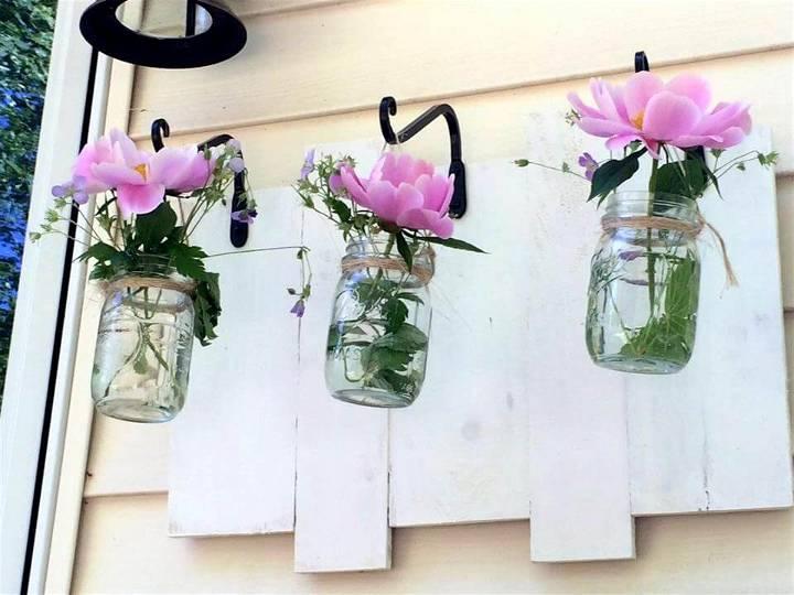 pallet and old Mason jar wall vases
