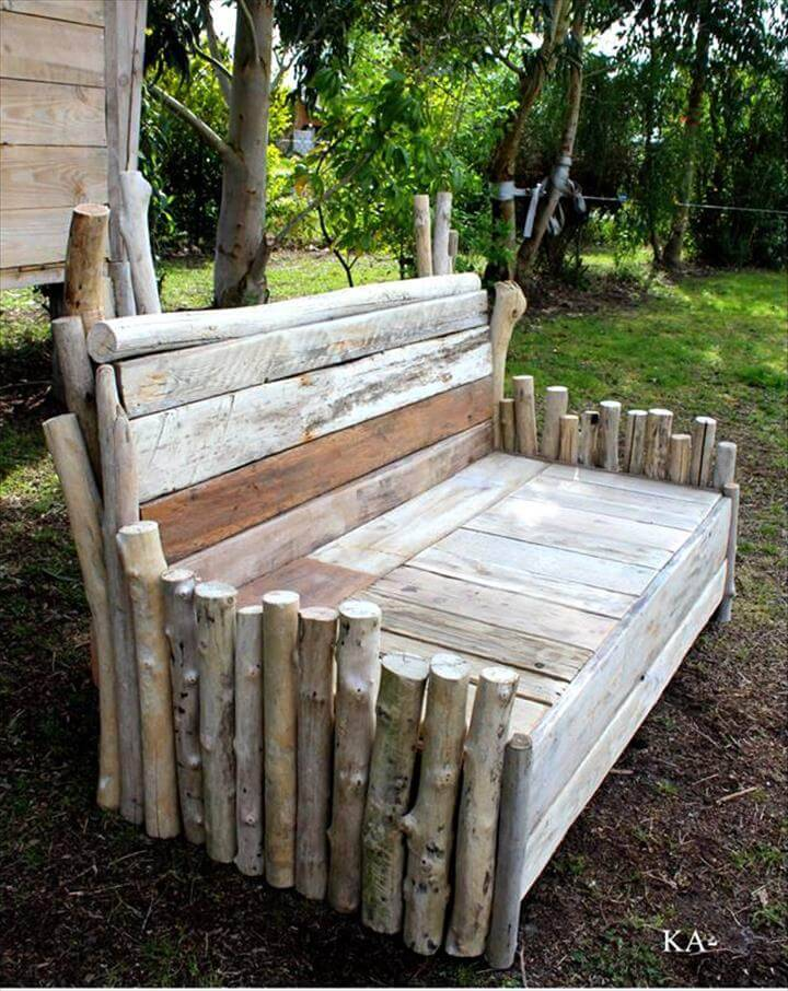 old wood log and pallet wood bench