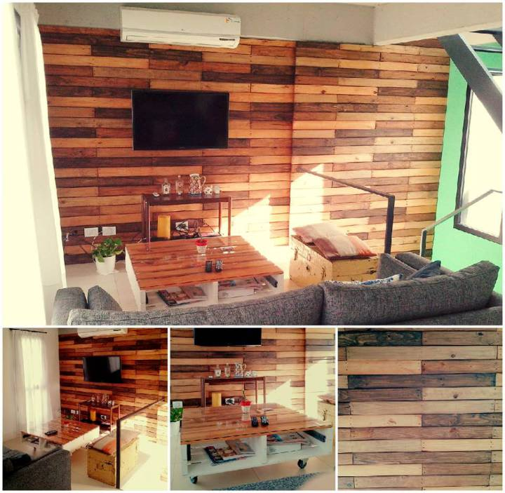 wooden pallet living room media wall and coffee table idea