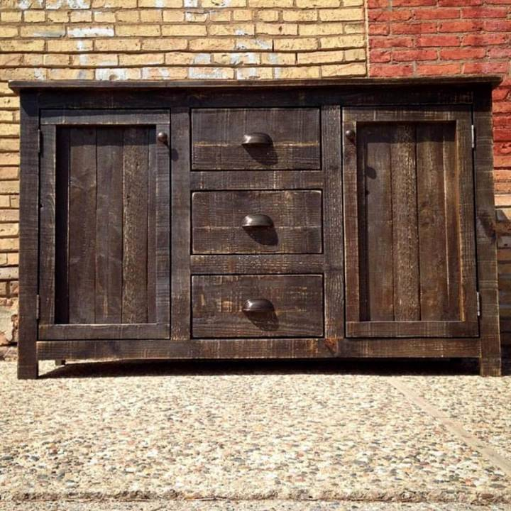 custom wooden pallet cabinet