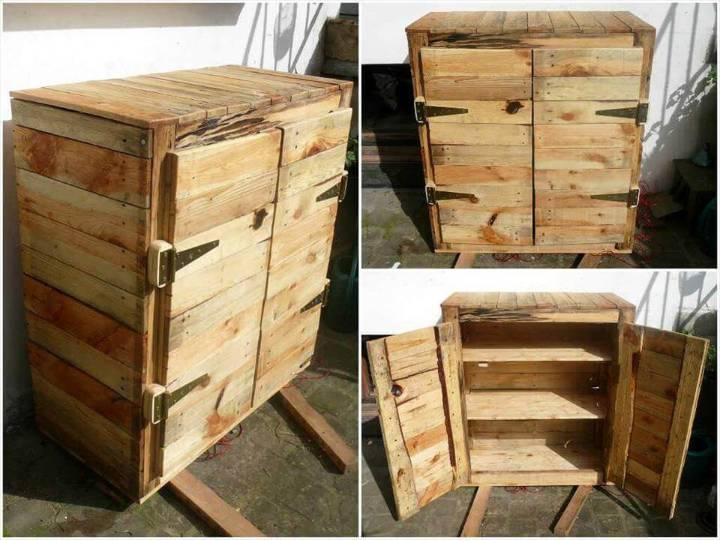 upcycled wooden pallet mini floor cabinet