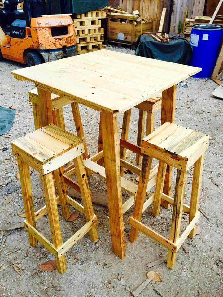 handmade wooden pallet party set