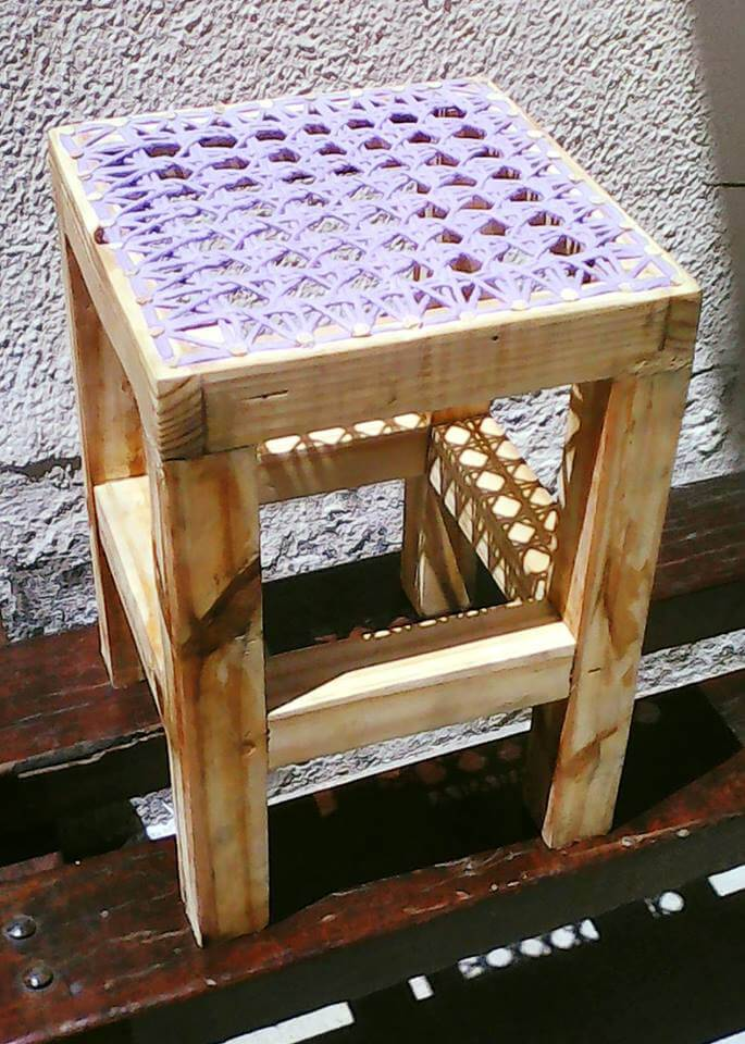 repurposed pallet stool with knitted top