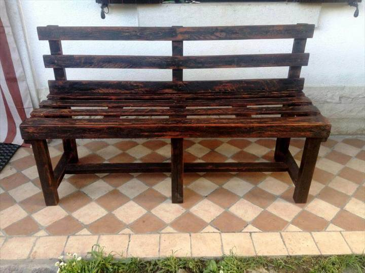 handmade wooden pallet stained bench