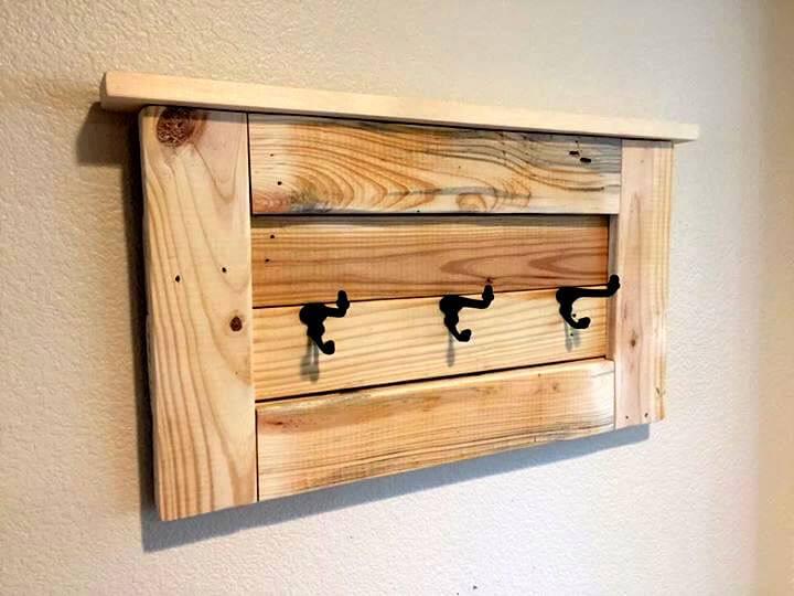 repurposed pallet coat rack with shelf