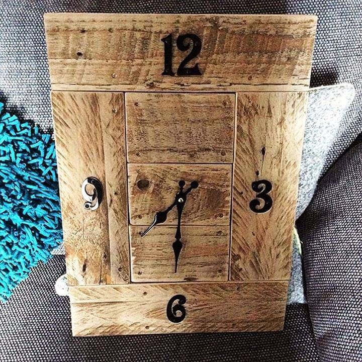 repurposed wooden pallet wall clock