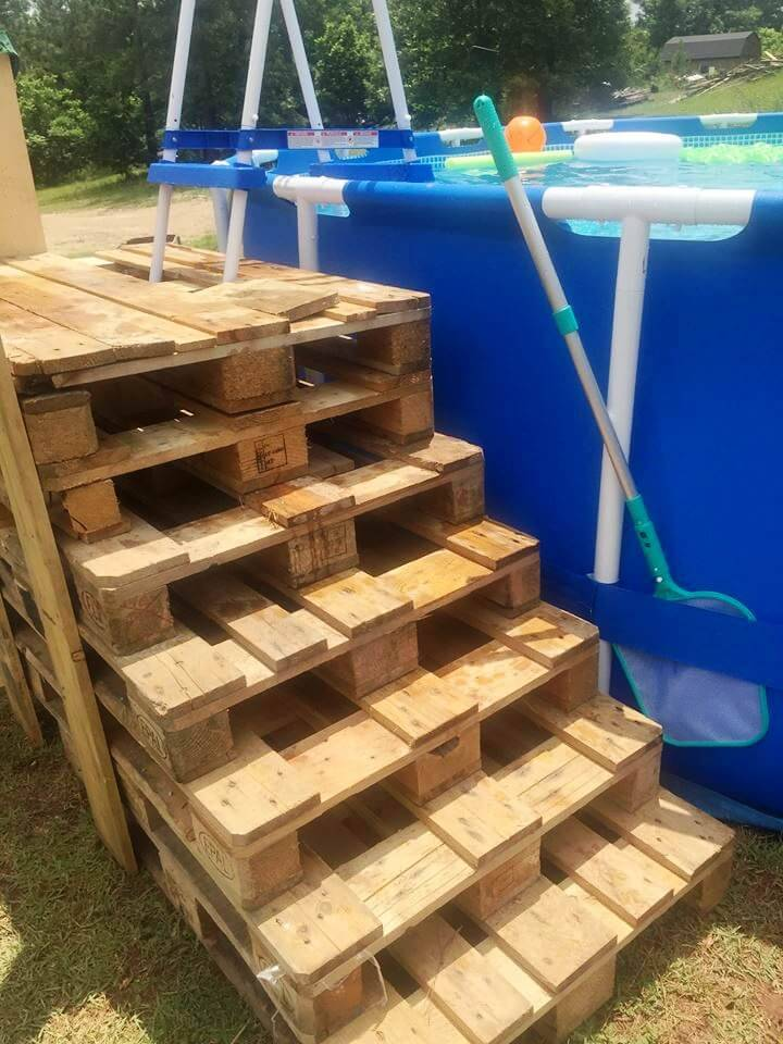 custom stacked pallet outdoor swimming pool steps