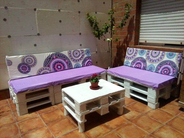 white painted stacked pallets sofa set with purpose cushions