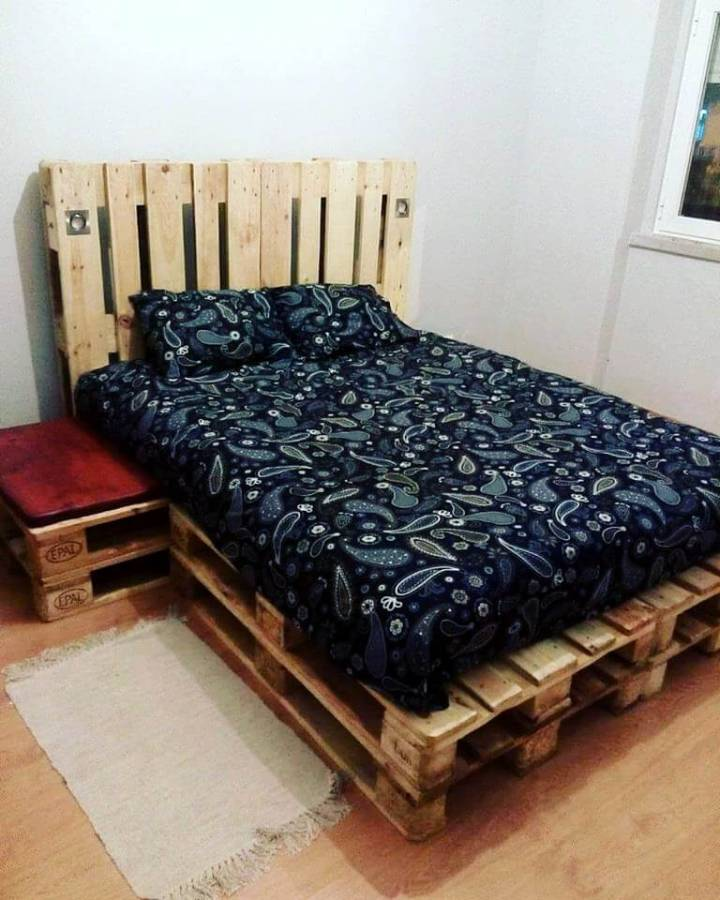 stacked pallet robust wooden bed with headboard