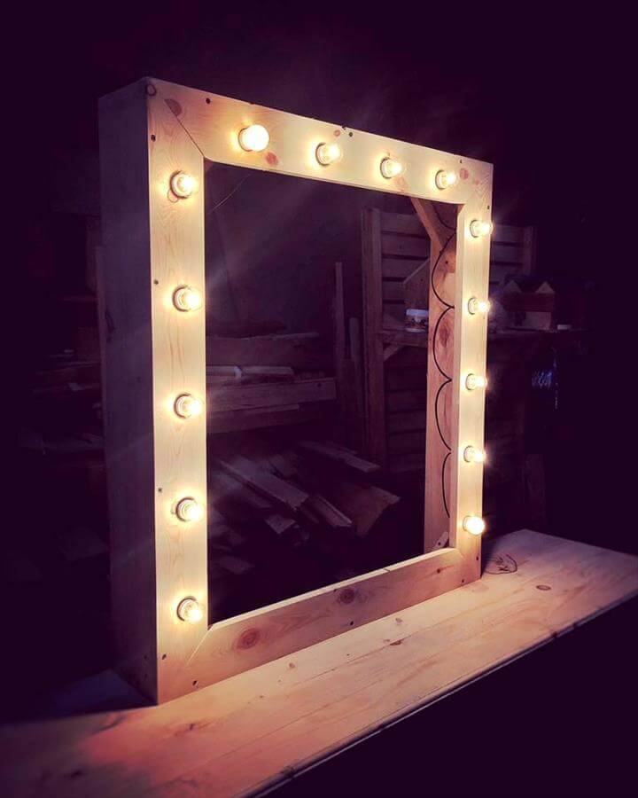 recycled pallet accent wall mirror with lights