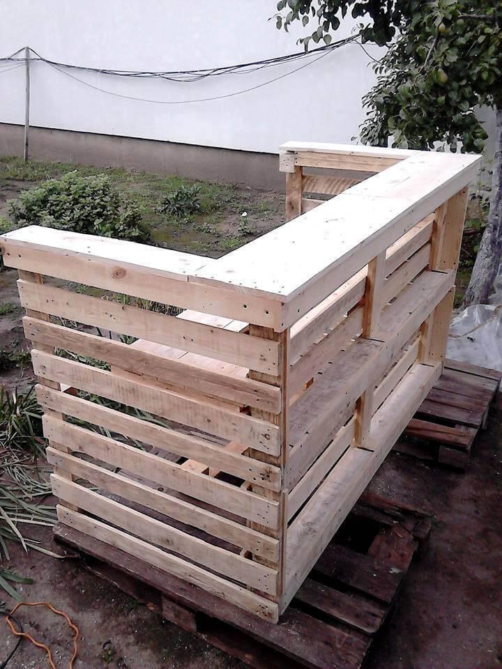 handmade wooden pallet counter