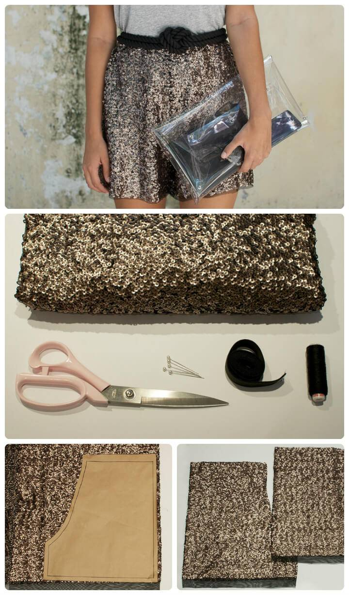 DIY sequin summer shorts