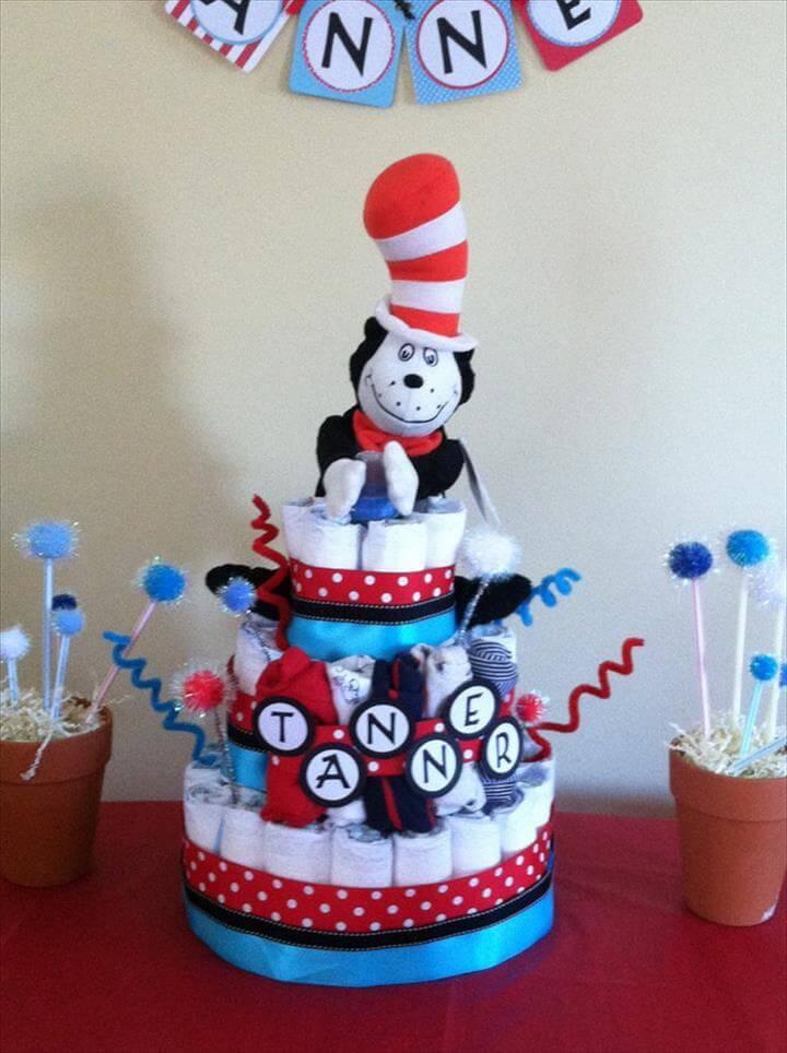 baby shower diaper cake decor idea