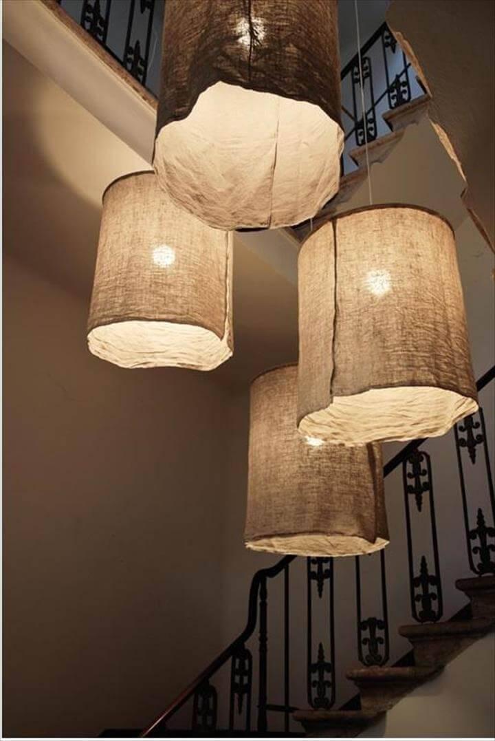 Handmade rustic linen lampshades