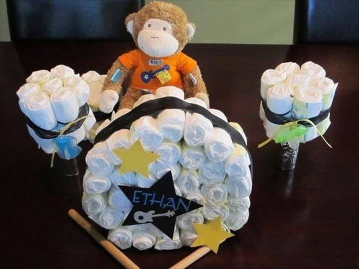 diaper drum set cake