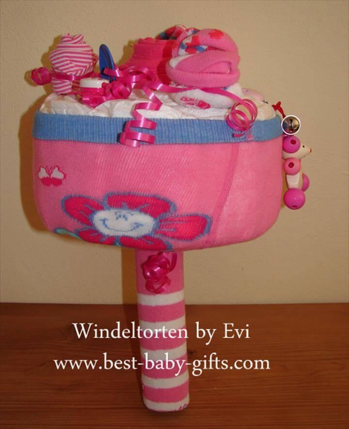 baby shower diaper bouquet cake