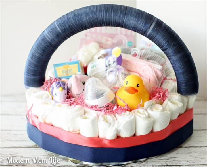 baby girl diaper cake basket
