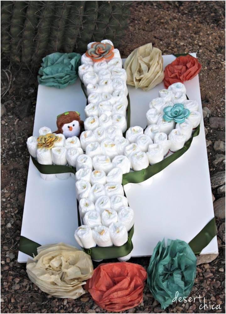 stunning cactus diaper cake