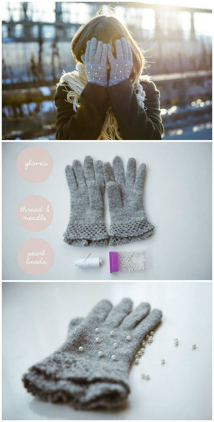 DIY winter pearl gloves