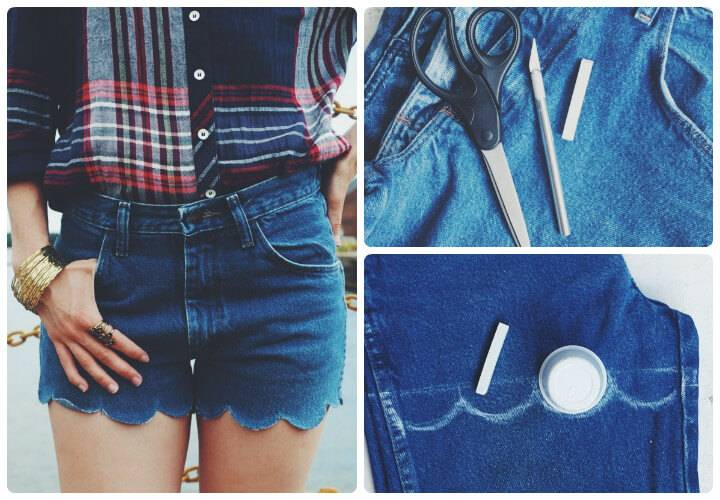 denim scalloped summer shorts