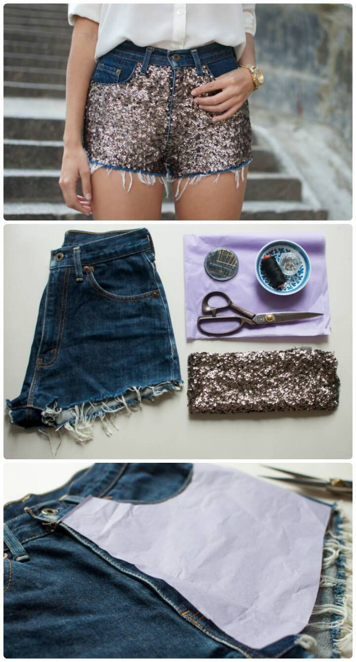 DIY sequin shorts