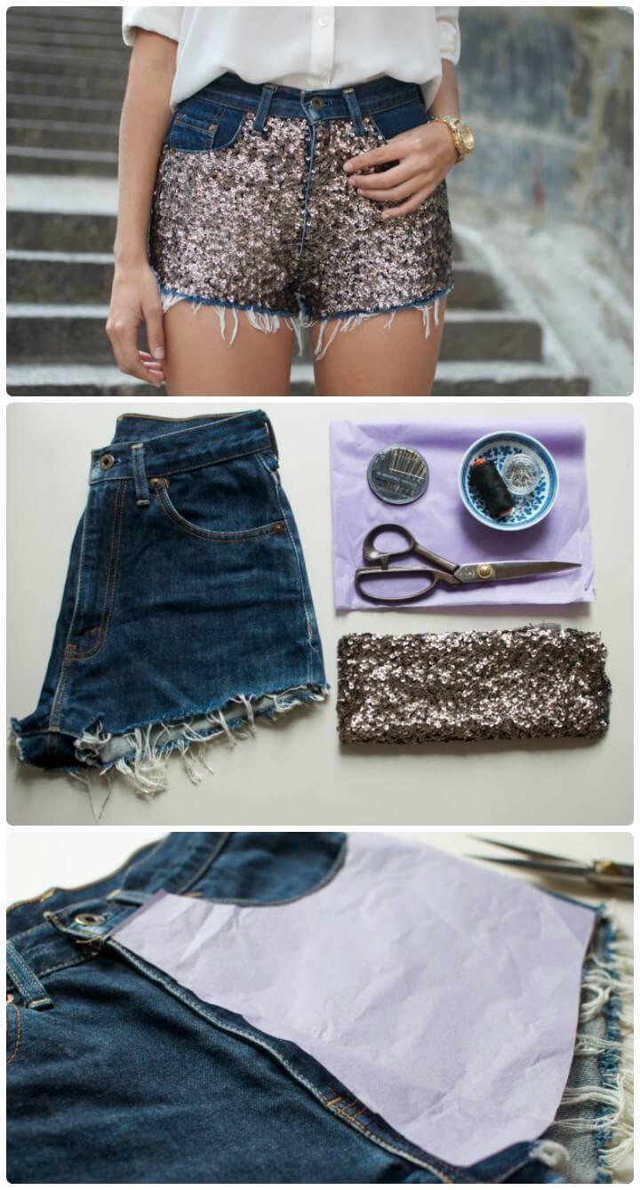 DIY sequin shorts