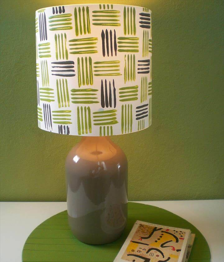 DIY custom bottle and fork printed lampshade