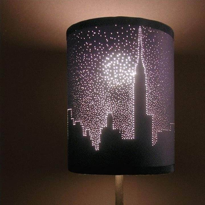 DIy cityspace tiny lights lampshade
