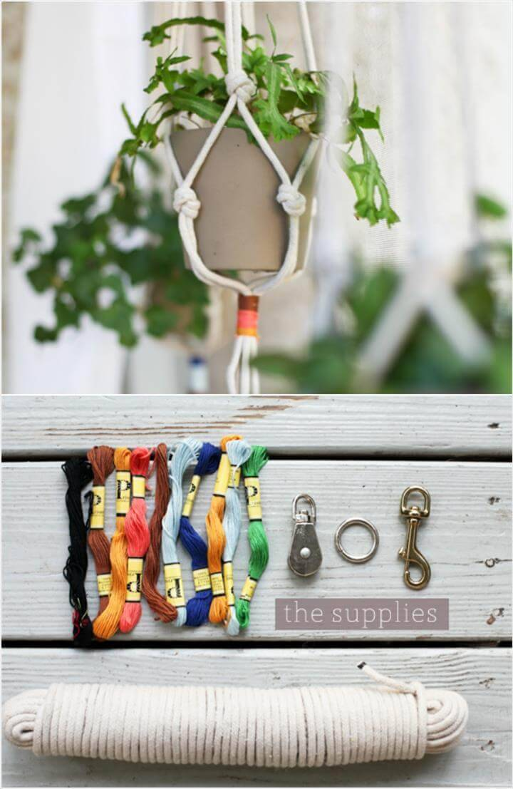DIY instructions for macrame plant hanger