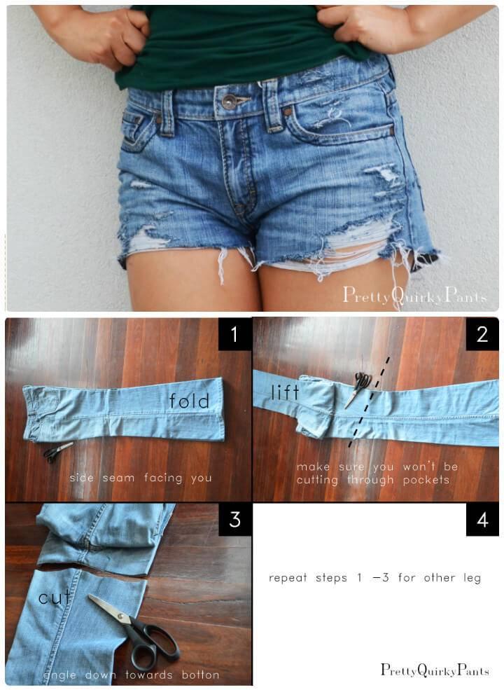 DIY distressed cut-off shorts