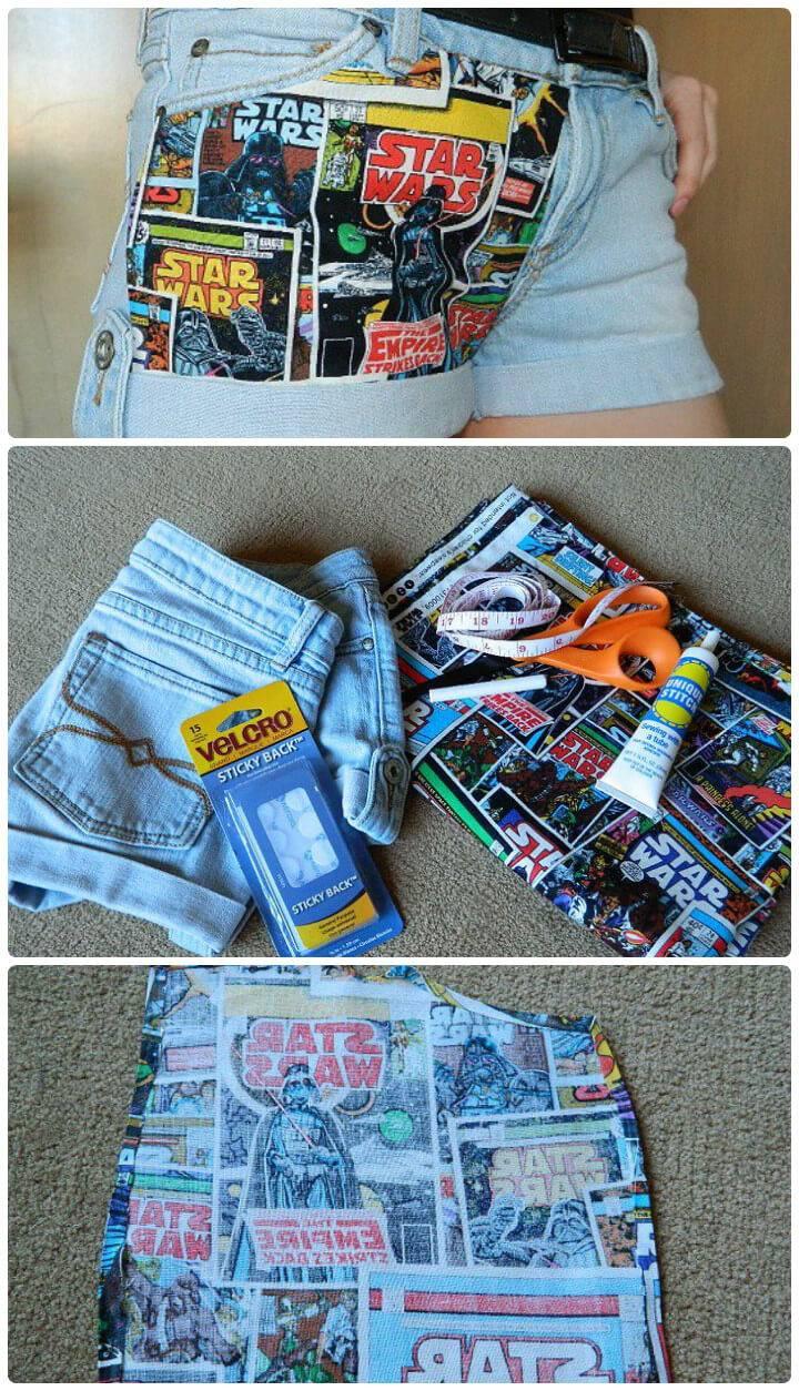funky no-sewing fabric panel shorts