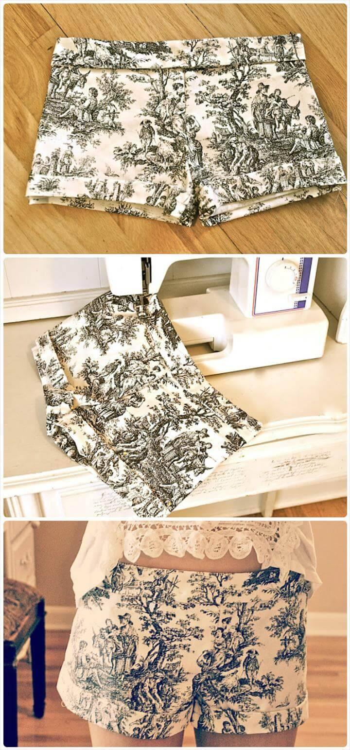 DIY printed victorian shorts