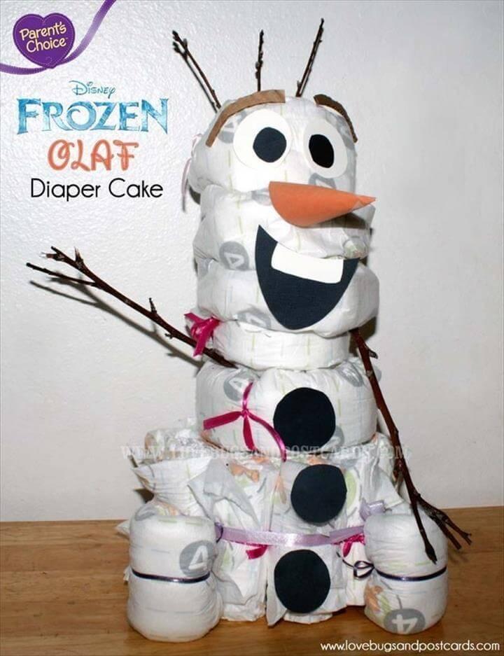 baby shower snowman diaper cake