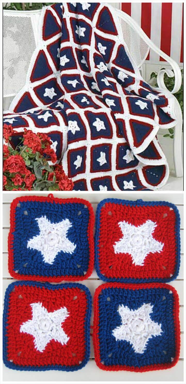 free crochet 50 star afghan pattern