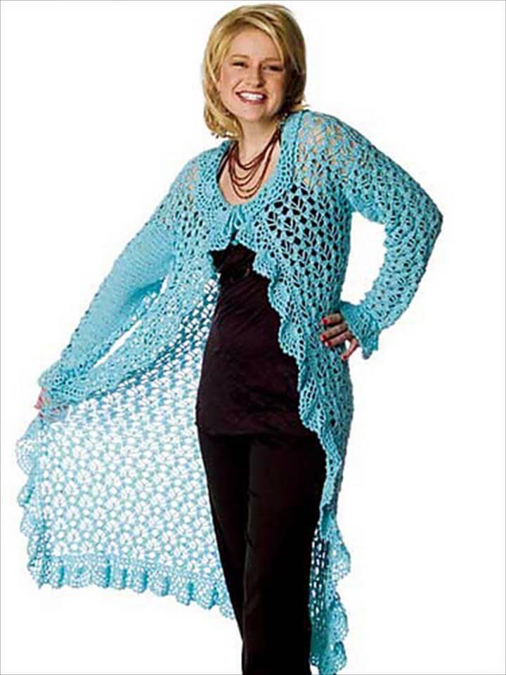 stylish crochet breezy duster