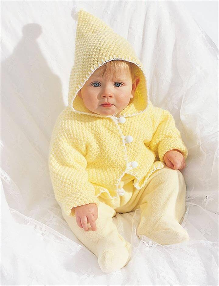 easy crochet hooded baby jacket