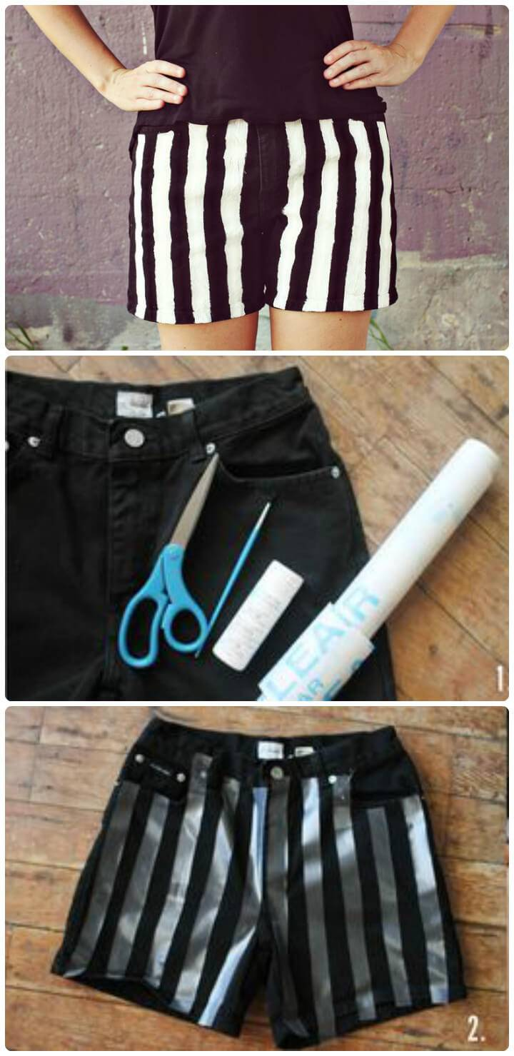 black and white strips DIY shorts