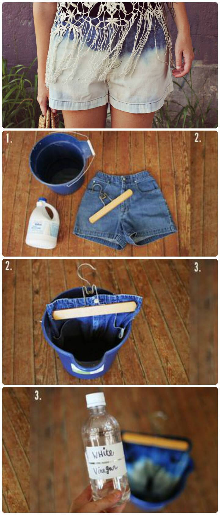 denim bleach shorts DIY