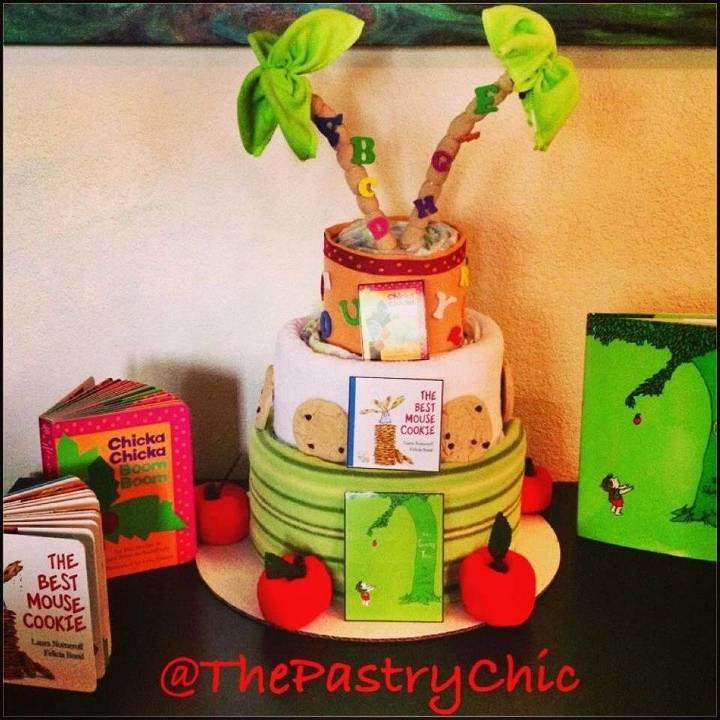 custom book themed diaper cake