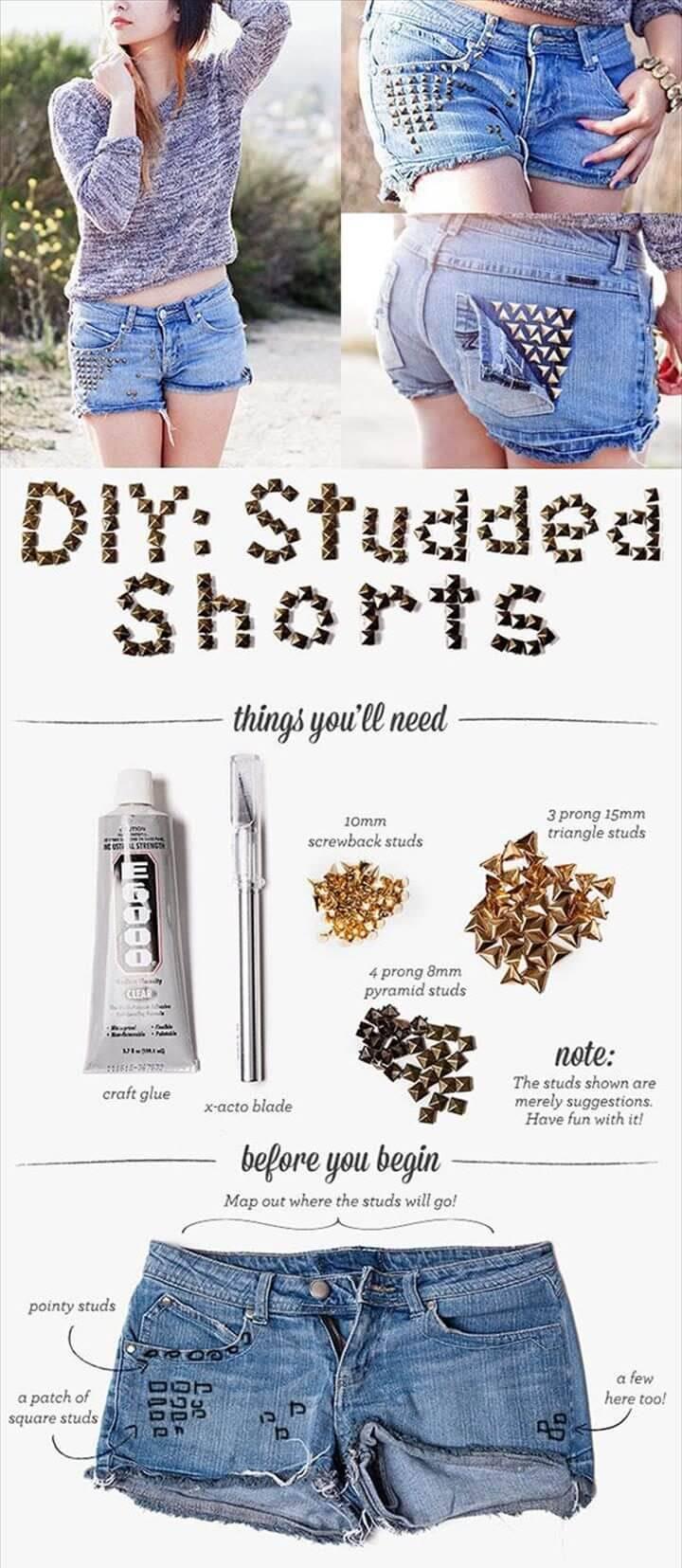 DIY studded shorts for girls