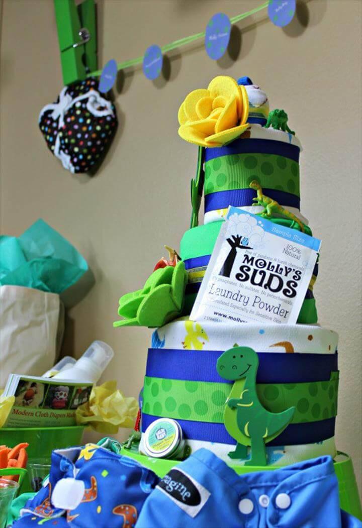 amazing dinosaur themed diaper cake